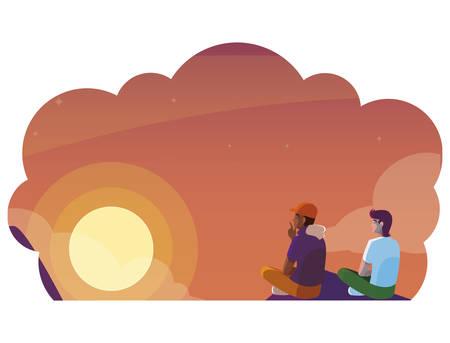 men couple contemplating horizon of sky sunset scene vector illustration design