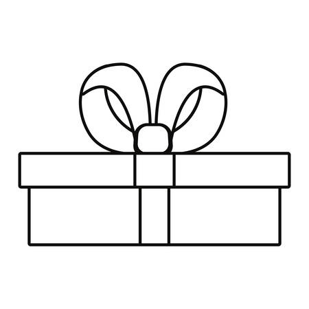 wrapped gift box on white background vector illustration outline Ilustrace