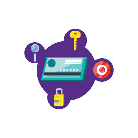 credit card with security icons vector illustration design
