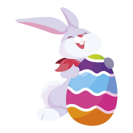 cute rabbit easter with egg painted vector illustration design Иллюстрация