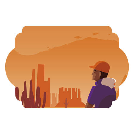 afro man contemplating horizon in the desert scene vector illustration design Ilustrace
