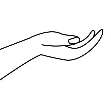 hand gesture receiving icon vector illustartion outline