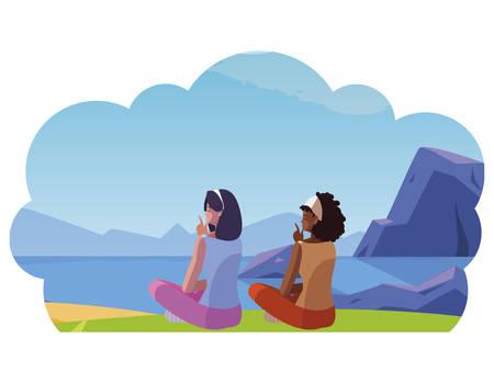 women couple contemplating the horizon in the field scene vector illustration design 写真素材 - 129863091