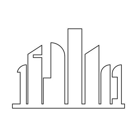 building city futuristic modern cityscape vector illustration outline