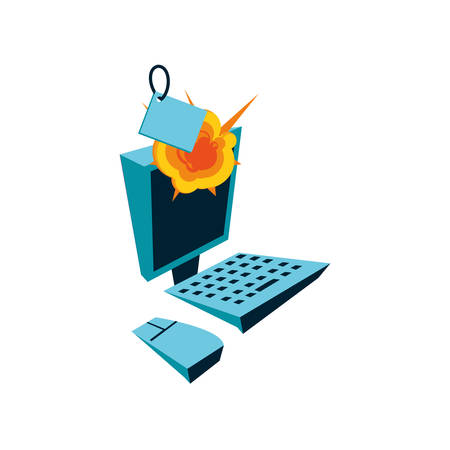 desktop computer with tag commercial and explosion vector illustration design