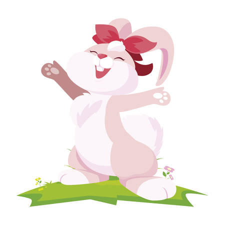 cute rabbit easter female with bow in the camp vector illustration design