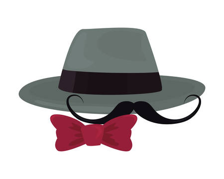 hat mustache bow tie happy fathers day vector illustration Ilustrace