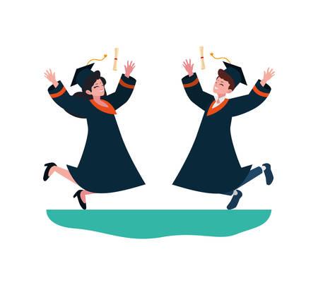 young couple students graduated celebrating vector illustration design Çizim