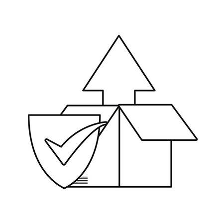 cardboard box check mark fast delivery vector illustration
