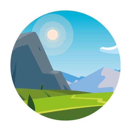 landscape mountainous scene in frame circular vector illustration design