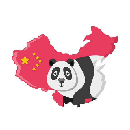 bear panda with map chinese vector illustration design