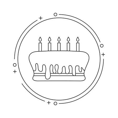 cake of birthday in frame circular vector illustration design Illustration