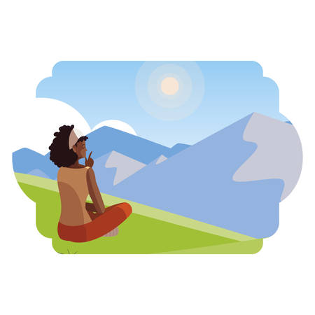 afro woman contemplating the horizon in the field scene vector illustration design