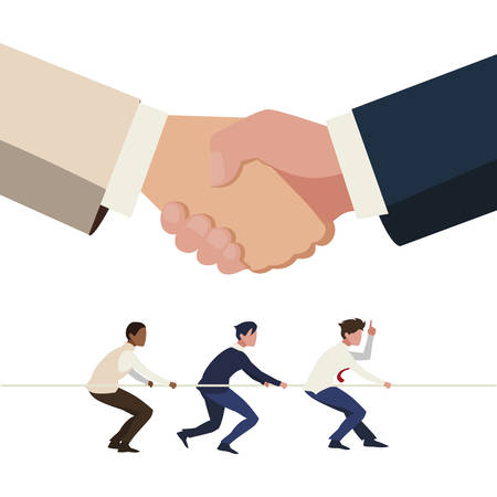 businessmen teamwork pulling rope with handshake vector illustration design Ilustração