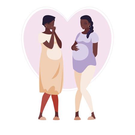 couple of afro pregnancy women in heart vector illustration design Çizim