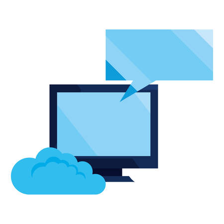 cloud computing computer speech bubble cybersecurity data protection vector illustration