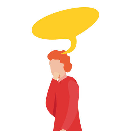 man character speech bubble think vector illustration