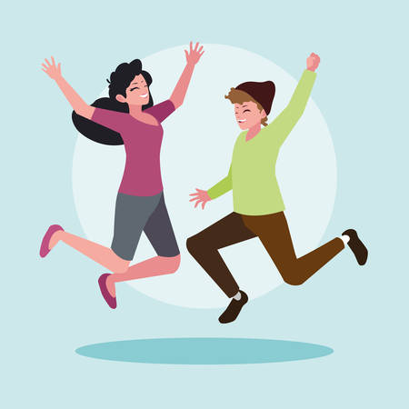 young couple celebrating with hands up vector illustration design