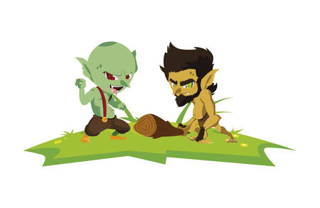 ugly troll with caveman gnome in the camp magic characters vector illustration  イラスト・ベクター素材