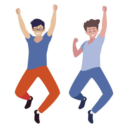 happy young men celebrating characters vector illustration design