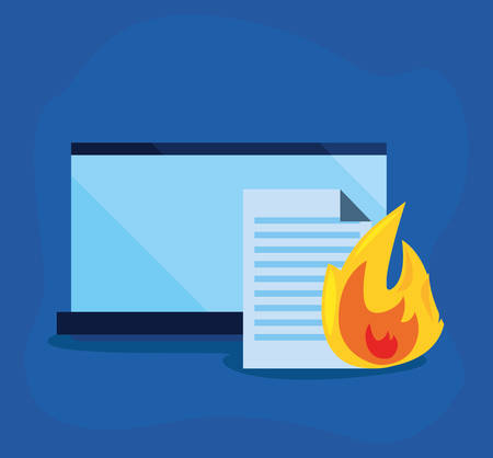 laptop document fire cybersecurity data protection vector illustration Ilustrace