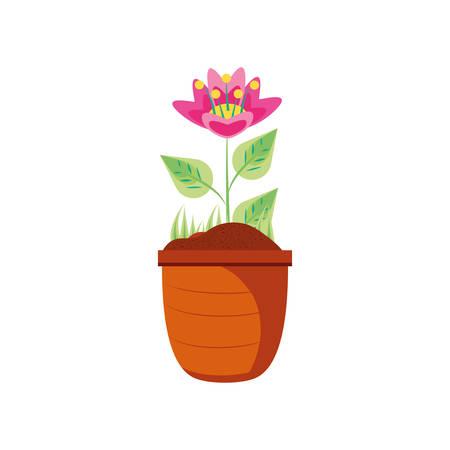 beautiful flower nature in pot plant vector illustration design Иллюстрация