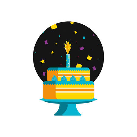 sweet cake of birthday with candle vector illustration design