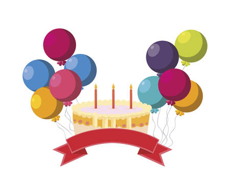 sweet cake birthday with balloons helium vector illustration design Ilustrace