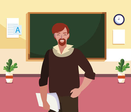 teacher male with documents in the classroom vector illustration design