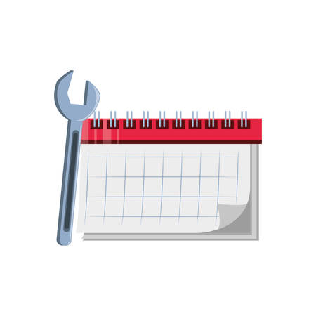 calendar reminder with wrench tool vector illustration design