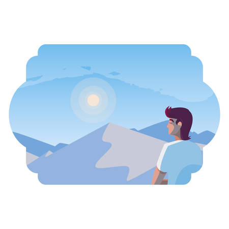 man contemplating horizon in snowscape scene vector illustration design Foto de archivo - 129863635