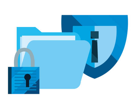 folder shield protection padlock cybersecurity data vector illustration Ilustrace