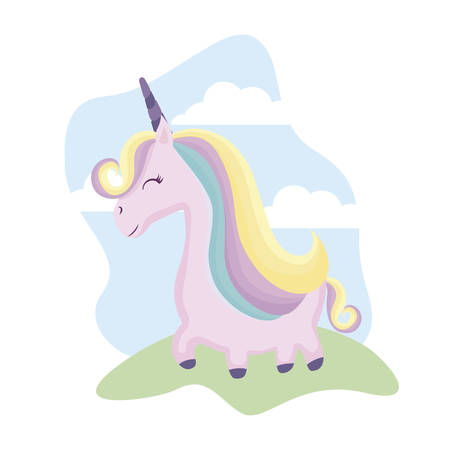 cute unicorn animal in landscape vector illustration design