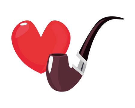 heart love tobacco pipe happy fathers day vector illustration  イラスト・ベクター素材