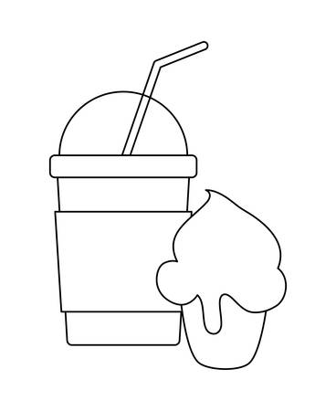 delicious sweet cupcake with milkshake vector illustration design Standard-Bild - 129863941
