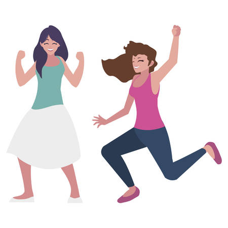 happy young women celebrating characters vector illustration design Illustration