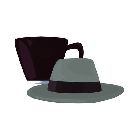 coffee cup hat happy fathers day vector illustration Ilustrace