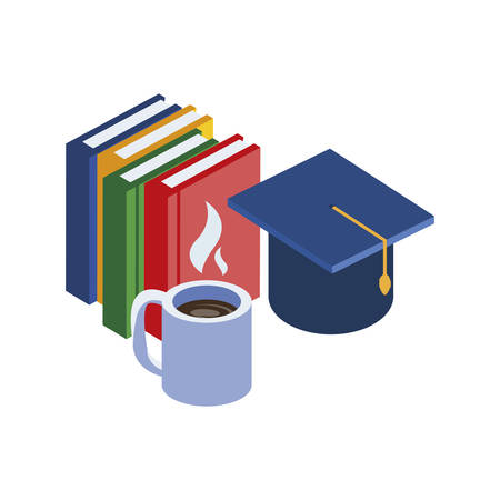 pile text books with coffee cup vector illustration design Reklamní fotografie - 129864552