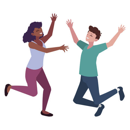 interracial young couple celebrating characters vector illustration design