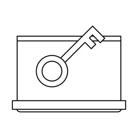 laptop key cybersecurity data protection vector illustration outline
