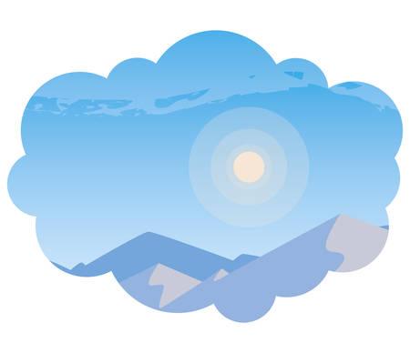 beautiful snowscape scene icon vector illustration design  イラスト・ベクター素材