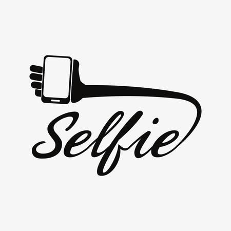 selfie inscription hand cellphone on white background vector illustration