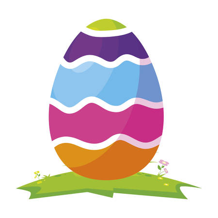 happy easter egg painted in camp vector illustration design Ilustracja