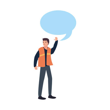 builder speech bubble labour day vector illustration  イラスト・ベクター素材