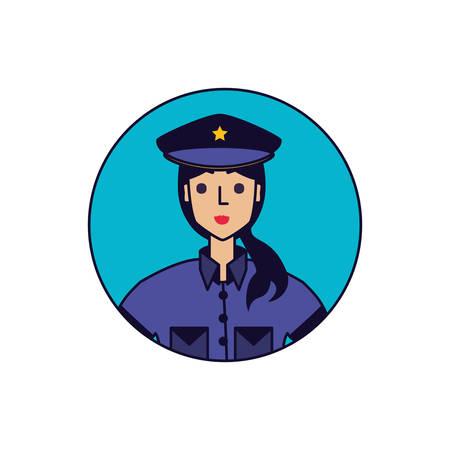 police officer female in frame circular vector illustration design