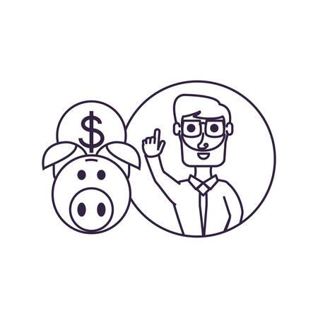 businessman elegant with hand up and piggy bank vector illustration design