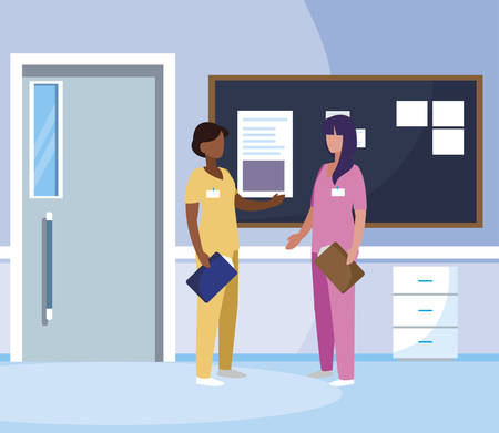 interracial female medicine workers in hospital corridor vector illustration design  イラスト・ベクター素材