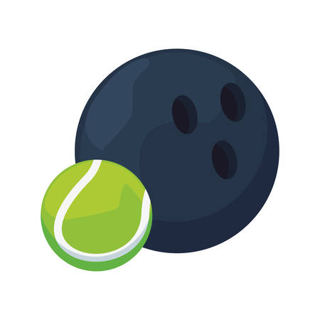bowling and tennis ball sport vector illustration design