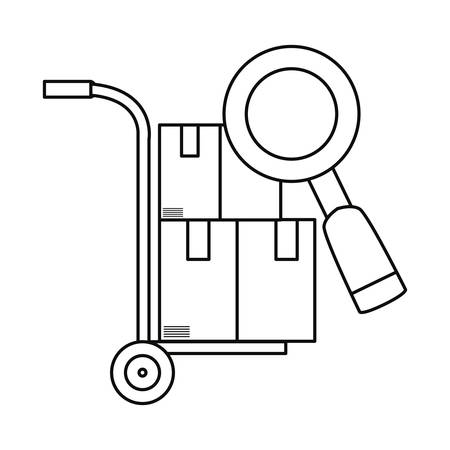 magnifier handcart with cardboard boxes fast delivery vector illustration