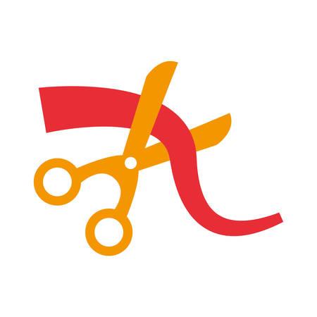 scissors cutting ribbon white background vector illustration